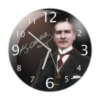 Atatürk Resimli Cama Baskılı Duvar Saati