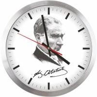 Atatürk Resimli Metal Çerçeveli Duvar Saati