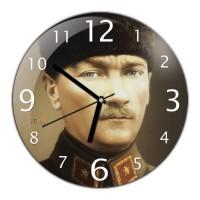 Atatürk Resimli Yuvarlak Dekoratif Duvar Saati