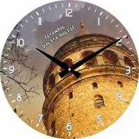 Galata Kulesi Resimli Dekoratif Duvar Saati