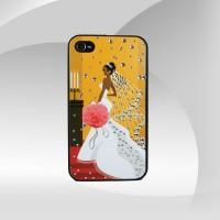 Gelinlikli Kız iPhone 4 Taşlı Arka Kapak