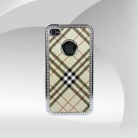 Gümüş İşlemeli Kahverengi iPhone 4 Arka Kapak