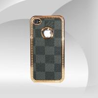 Kare Desenli Parlak Bakır İşlemeli iPhone 4 Arka Kapak