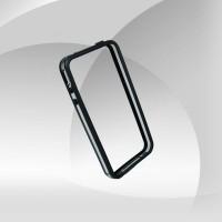 Şeffaf Yan Şeritli Siyah iPhone 4 Bumper