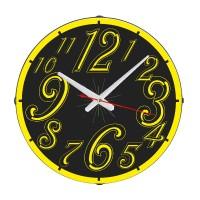Yuvarlak Sarı Dekoratif Duvar Saati