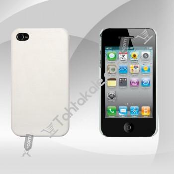 Beyaz Deri Sert Kapak IPhone 4S Kılıfı