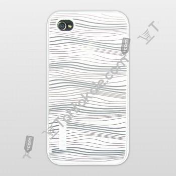 Silikonlu IPhone Kılıfı Beyaz Şeffaf Desenli 4S