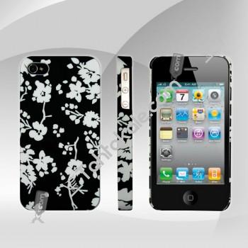 IPhone 4   4S Çiçekli Siyah Beyaz Kılıf