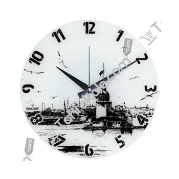 Kız Kulesi Baskılı Yuvarlak Duvar Saati