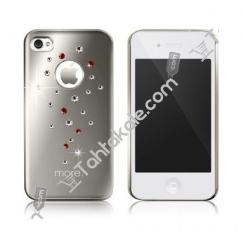 Renkli Taşlı  Gümüş Rengi IPhone 4G 4S Kılıfı