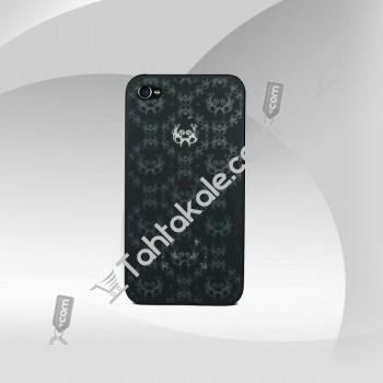 Şık Tasarım Gri İşlemeli iPhone 4 Siyah Arka Kapak