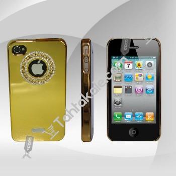 Taşlı Altın Rengi  Iphone 4-4S Telefon Kılıfı
