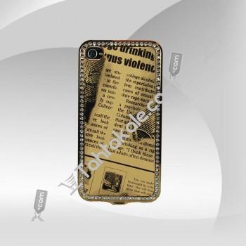 Taşlı Parlak Bakır Kadife Dokunuş iPhone 4 Kapak