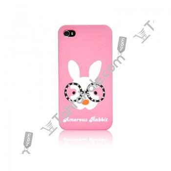 Tavşan Desenli iPhone 4 Taşlı Arka Kapak